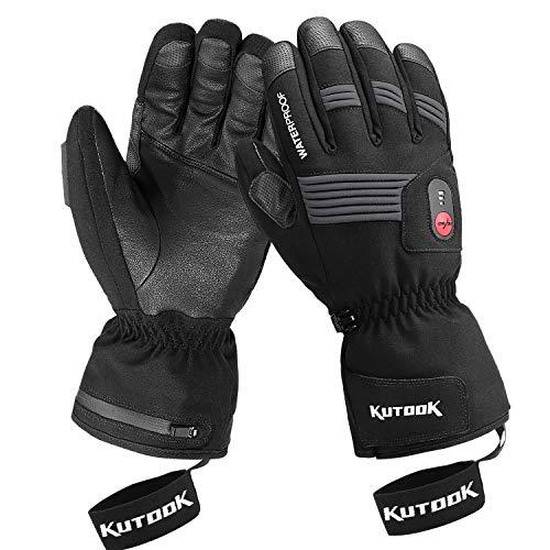 KUTOOK Guanti Riscaldati Invernali Antivento Impermeabile Touchscreen con Batteria Ricaricabile per Moto Snowboard e Sci e Ciclismo Sport Invernali (L)