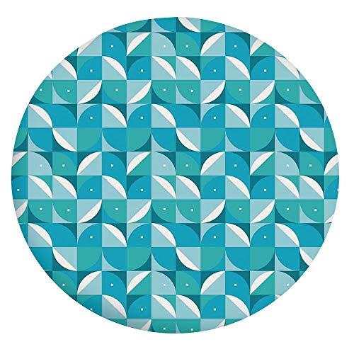 Mantel ajustable de poliéster con bordes elásticos, con forma abstracta fractal con medio círculo y triángulos, se adapta a mesas redondas de 45 a 48 pulgadas, para comedor y cocina, color azul