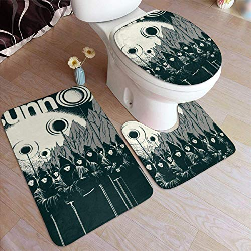 haoqianyanbaihuodian Sunn O - Almohadilla antideslizante para baño (3 piezas, 50 x 80 cm), color negro