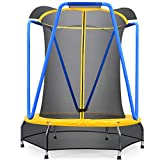 Zupapa 66 54 inch Indoor Small Trampoline for Kids Children Ultra Quiet Mini Toddler Baby Trampoline with Enclosure Net Bungee Cords Trampoline with Flower Modelling (54inch)