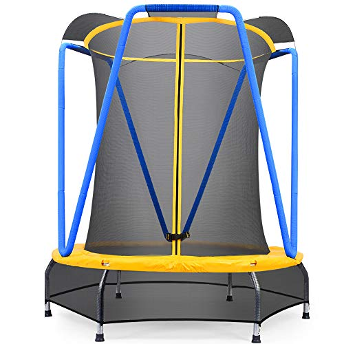 Zupapa 54 inch 4.5FT Indoor Small Trampoline for Kids Children Ultra Quiet Mini Toddler Baby Trampoline with Enclosure Net Bungee Cords Trampoline with Flower Modelling (54inch)