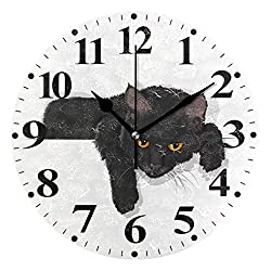 susiyo Black Cat Printed Round Wall Clock Silent Non Ticking Quartz Battery Operated Analog Modern Decor Clock for Bedroom Living Room Kitchen Desk Farmhouse-9.8inch