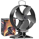 Morinoli Upgraded 4 Blade Fireplace Fan Heat Powered Stove Fan for Wood/Log Burner/Fireplace ,Eco Friendly and Efficient Heat Distribution Fan,Black,Round