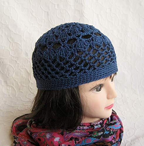 Häkelmütze, Sommermütze, Beanie, Mütze, Jeans/Tinten - Blau, reine Baumwolle, Handmade