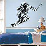 wZUN Ski Stickers muraux Hiver Sportif Chambre décoration Murale Vinyle Stickers muraux Enfants Chambre décoration 63X51 cm