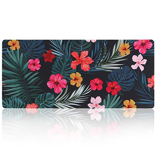 iLeadon Extended Gaming Mouse Pad - Non-Slip Water-Resistant Rubber Base Computer Keyboard Mouse Mat, 35.1 x 15.75-inch 2.5mm Thick XX-Large, Ideal Partner for Work & Game, Palm Leaves