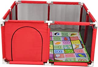 Playpen Baby with Pad Safety Play Center Yard Home Indoor Outdoor Protective Fence for Newborn Infant Blue Red 128x128x66cm  Color Red