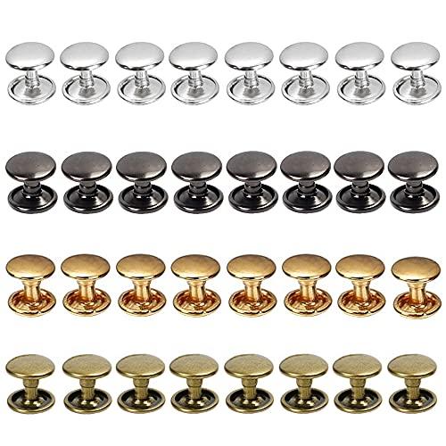 Gotetiso Remache 400 Piezas Remaches Cuero Metal Tubular Juegos Doble Remache Remaches Tachuelas Remaches Tapa Metal Tubulares de Remache para Cuero Artesanías Sombreros Jeans, 6 * 6mm, 4 colo