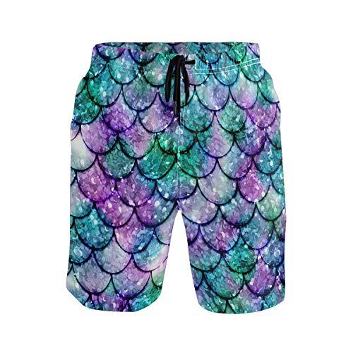 Pantalones Cortos Casuales de Verano de Sirena Brillante Multicolor para Hombres Ropa de Playa Pantalones Cortos Deportivos para Nadar Pantalones Cortos de Surf de Secado rápido L