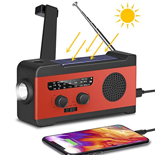 2020新款 防災ラジオ 手回し充電 ソーラー充電 USB充電 大容量2000mAh 多機能AM/FM 防災 台風 津波 地震 震災 停電緊急対策 SOSアラート アウトドア キャンプ 高齢者への贈り物 日本語取扱書付Red (レッド)