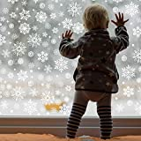 Outus 570 Pieces Christmas Window Clings Christmas Snowflake Decal Stickers Window Clings Decorations for Christmas Frozen Theme Party New Year Supplies, 12 Sheets