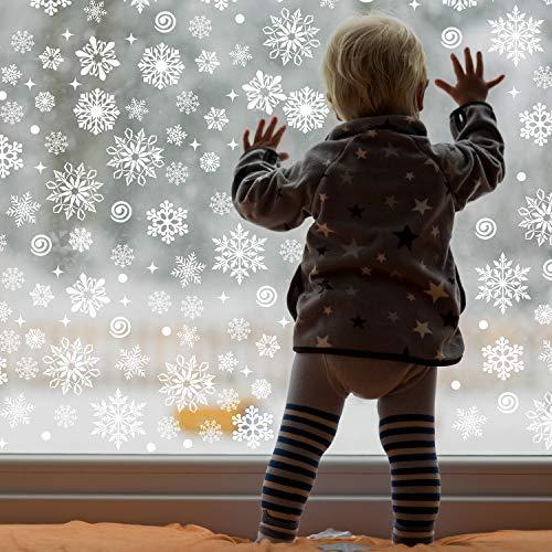 Outus 570 Stücke Weihnachten Fenster Haftet Weihnachten Schneeflocke Abziehbilder Aufkleber Fenster Klammert Dekoration für Weihnachten Gefroren Theme Party Neujahr Bedarf, 12 Blatt (Weiß)