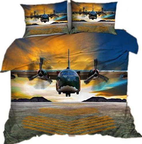 SixyeLiuzhi Ropa de Cama 3D con Estampado Digital de avión, Cama de tamaño Queen para niños, Juego de Fundas de edredón de avión, Textiles para el hogar, Ropa de Cama,180x210cm(3piezas)