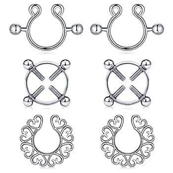 FECTAS Fake Nipplerings Piercings Clip On Nipple Rings Stainless Steel Faux Nipple Jewelry