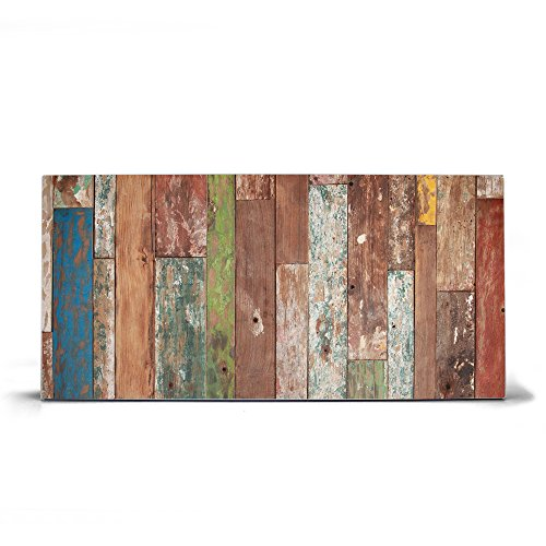 banjado Design Magnettafel grau | Wandtafel magnetisch 37x78cm groß | Metall Pinnwand | Memoboard mit Magneten und Montageset | Motiv Buntes Holz