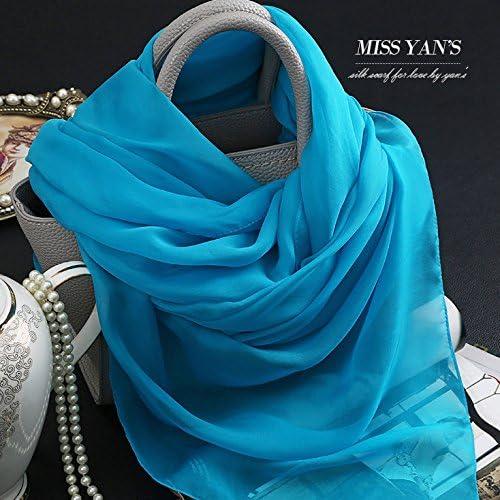 YRXDD Couleur Pure Soie Bleu Le Président Dos Santos Foulards en Soie chale Long Warm-ups.