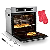 Single Wall Oven, GASLAND Chef Pro GS606MS 24' Built-in Natural Gas Oven, 6 Cooking Function Convection Gas Wall Oven with Rotisserie, CSA Approved, 120V Cord Plug Electric Ignition, Stainless Steel