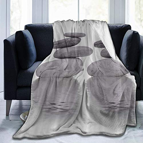 NOLYXICI Soft Fleece Throw Blanket,Réflexion pavée Sur la méditation de l'eau,Home Hotel Sofá Cama Sofá Mantas para Parejas Niños Adultos,75x125cm