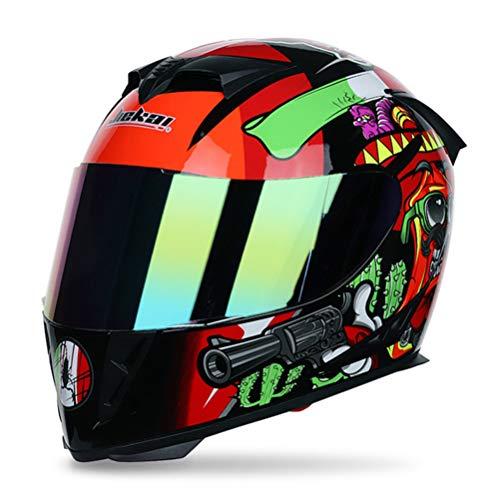 Casco integral Scooter con doble lente Elegante casco de carreras de liberación rápida Casco Moto Cascos de moto Hombres/Mujeres de rostro completo
