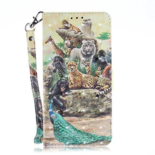 vingarshern Hülle für ZTE Blade L3 Schutzhülle Etui Tasche Klappbares Magnetverschluss Flip Case Lederhülle Handytasche ZTE Blade L3 Hülle Leder Brieftasche(Zoo) MEHRWEG