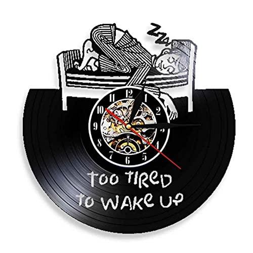 LTMJWTX Demasiado Cansado para Despertar Reloj de Pared con Disco de Vinilo Reloj Vintage sin tictac para Dormir Decoración del hogar