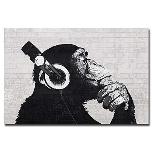 Rahmenlose Tier Leinwand Gedruckt Gemälde, Eine Gruppe Lustiger Denkender Affen Mit DJ-Musik-Kopfhörer-Gorilla-Bild-Plakat, Moderne Pop Wandkunst Dekor,Schwarz,70×100cm