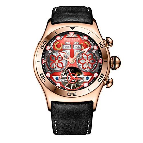 Reef Tigre Sport para Hombre Tourbillon Reloj Multifuncional Acero Esq