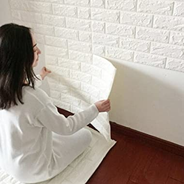 BIGBANBAN Wall Stickers, Creative 3D DIY Imitation PE Foam Self Adhesive Brick Pattern Wallpaper, Soft Pack TV Sofa Background Living Room Bedroom Study Room Office Home Decoration (20, white)