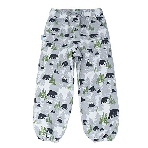 JAN & JUL Kids Water-Proof Soil-Repellent Rain Pants (Single Layer: Bear, 5T)
