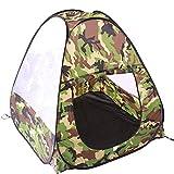 Tente Camouflage Pop Up, Tente Camping Intérieur Extérieur, Tente de Jardin pour Enfant, Tente de Plage Pliable 3 Côtés Filets de Maille Ventilés, Cadeau Fille Garçon 3 4 5 Ans