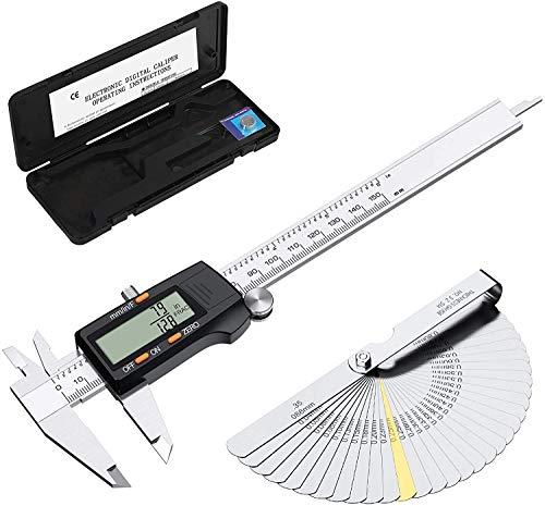 ESYNiC 150mm Calibro Digitale Frazione/Pollice/Metrico in Acciaio Inox con Spessimetro 32 Palette - 6' Calibro a Corsoio Elettronico Micrometro LCD Display Auto Spegnimento - Nero