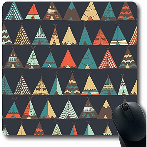 Mousepad Oblong 18X22Cm Doodle Patroon Teepee Native Amerikaanse Zomer Tent Life Parks Western Wild Camping Tipi Tribal Hippies Office Computer Laptop Notebook Mouse Pad,Antislip Rubber