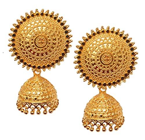 Pahal - Pendientes étnicos grandes chapados en oro Jhumka del sur de la India Bollywood para fiestas de novia