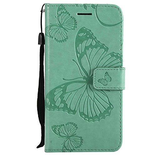 DENDICO Cover Galaxy J3 2017, Pelle Portafoglio Custodia per Samsung Galaxy J3 2017 Custodia a Libro con Funzione di appoggio e Porta Carte di cRossoito - Verde
