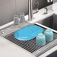 rainsworth scolapiatti da appoggio inox,senza bpa,scolapiatti cucina da lavandino per asciugare ortofrutticolo, ciotole, piatti. multiuso - scolastoviglie pieghevole per vasca (17.3'' * 15'', grigio)