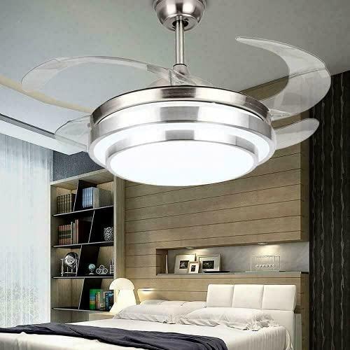Lámpara LED de techo de 4 aspas + mando a distancia de 3 colores, lámpara de techo regulable, ventilador silencioso con 3 velocidades de viento ajustables, con iluminación para salón o dormitorio
