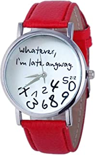 Muranba 2019 ! Hot Women Leather Watch Whatever I am Late Anyway Letter Watches