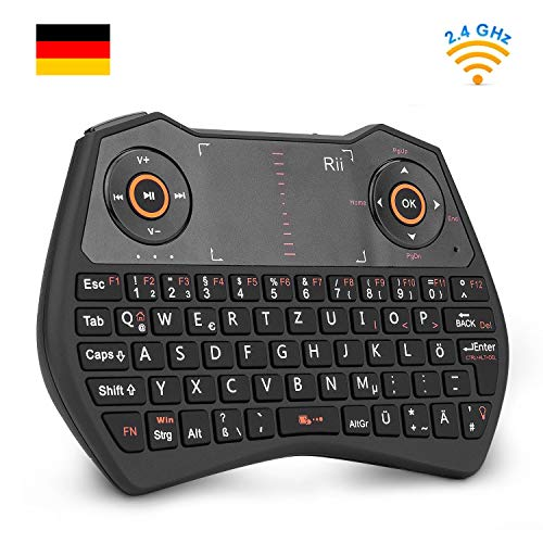 Rii K28C Mini Tastatur Wireless, Mini Tastatur Kabellos mit Touchpad, Mini Tastatur Beleuchtet für Smart TV Fernbedienung, HTPC, IPTV, Android TV-Box, X Box 360, PS3, PC. [Deutsches Layout]
