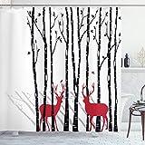 ABAKUHAUS Duschvorhang, Zwei Rote Rehe in der Natur Design Digital Schwartz Weiß Rot Wald mit Baum Schatten Hintergr&, Blickdicht aus Stoff mit 12 Ringen Waschbar Langhaltig Hochwertig, 175 X 200 cm