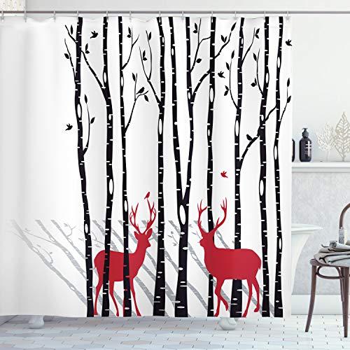 Ambesonne Antlers Decor Shower Curtain Set, Deer Tree Forest Backdrop