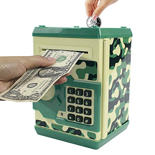 Cargooy Mini ATM Piggy Bank ATM Machine Best Gift for Kids,Electronic Code Piggy Bank Money Counter Safe Box Coin Bank for Boys Girls Password Lock Case (Camouflage Green)