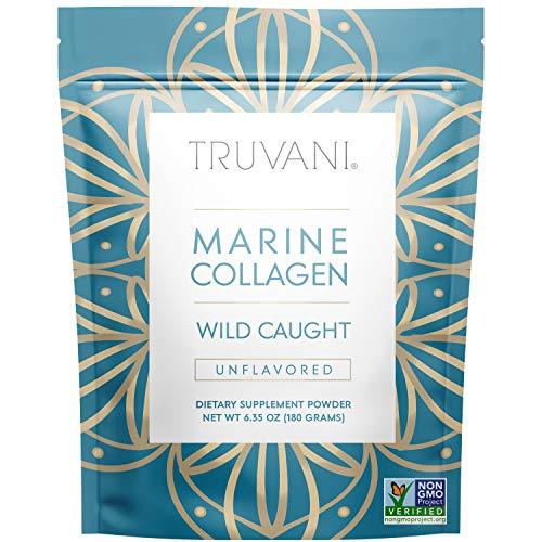 TRUVANI - Wild Caught Hydrolyzed Marine Collagen Protein Powder   Collagen Protein Supplement with Type 1,2 & 3   Anti-Skin Aging   Non-GMO   Gluten Free Fish Collagen   6.35 OZ