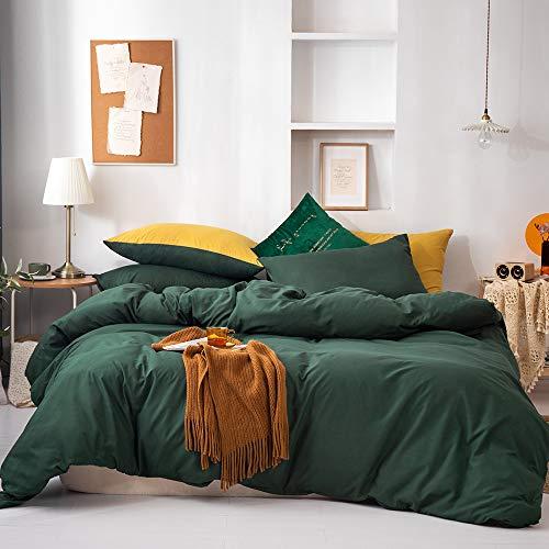 GETIYA Ropa de cama para niños, 135 x 200 cm, color verde oscuro, ropa de cama monocromática, ropa de cama de microfibra suave, juego de 2 piezas con cremallera y funda de almohada de 80 x 80 cm