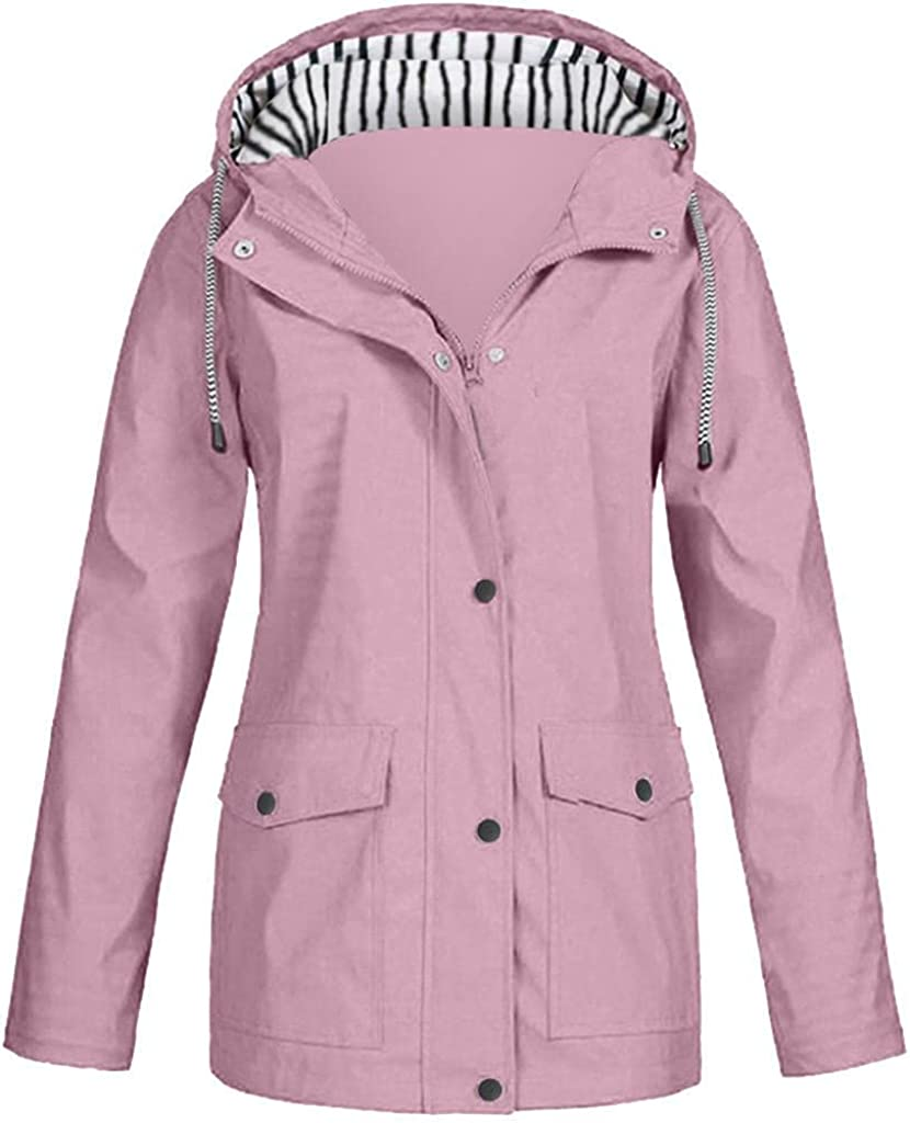 Womens Rain Jacket with Hood Outdoor Waterproof Raincoat Packable Lightweight Outerwear Trench Coat Travel Windbreaker