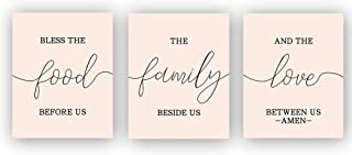 "Bless This Food Before Us ,The Family Beside Us, And The Love Between Us Art Print Set Of 3 (8""X10"")Inspirational Phrases Quote Home Wall Art , Motivational Canvas Art Poster For Kitchen, No Frame"