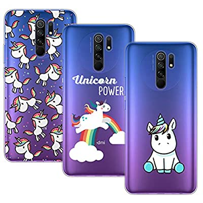 Young & Min Funda para Xiaomi Redmi 9, (3 Pack) Transparente TPU Silicona Carcasa Delgado Antigolpes Resistente, Unicornio