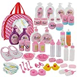 Fash N Kolor Complete Baby Doll Feeding & Caring Set, 50 Piece Baby Doll Accessories, 2 Magic Bottles with Baby Doll Accessories Bag