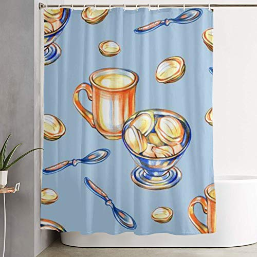 Popsastaresa Duschvorhang, Tasse Cappuccino mit Keksen Süßigkeiten auf blauem Hintergr& nahtlose Musterillustration, Bad Vorhang waschbar Bad Vorhang Polyester Stoff mit 12 Kunststoffhaken 180x180cm