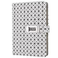 """A6パスワードロックノートブック複合機ポータブル日記美しいPUレザー5.7""""x8.3"""" (Color : White, Size : A6)"""