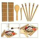 Juego de 9 piezas para hacer sushi de bambú para principiantes, incluye 2 alfombrillas de bambú para liar de bambú, 5 pares de palillos, 1 pala de arroz, 1 esparcidor de arroz.